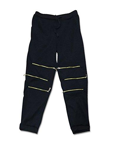 Mujer 2Pcs Chándal Conjuntos Deportivos Cremallera Manga Larga Sudadera+Pantalones Negro