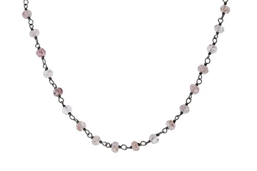 Black-Tone Sterling Silver Wire Natural Strawberry Rose Quartz Gemstone Bead Chain Stone Link Handmade Rosary Bracelet Anklet 9 Inches