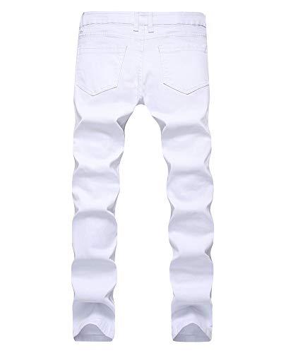 Pie Cintura Pantalones Bomba Ocio Versaces White Agujero Jeans Apretado Alta Media pequeño Recto Hombres wAqZHR