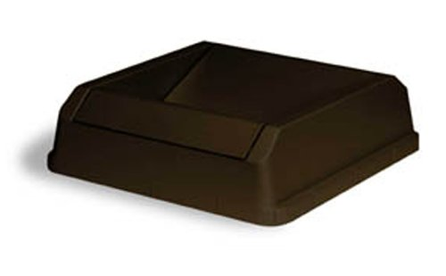 Continental 1702BN Drop Shot LLDPE Waste Lid for Swingline 25-Gallon and 32-Gallon Receptacles, Rectangular, Brown ()