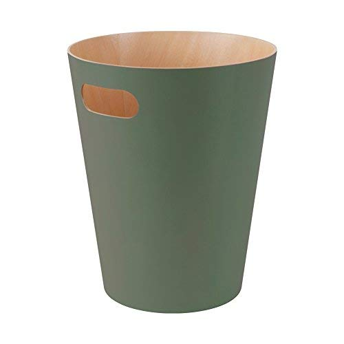 (Umbra Woodrow, 2 Gallon Modern Wooden Trash Can Wastebasket or Recycling Bin for Home or Office, Spruce)