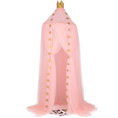 Doingart Bed Canopy Mosquito Net for Kids Playing Reading with Children Round Dome Kids Canopy Mosquito Netting Indoor Outdoor Castle Tent Hanging Netting Curtains Baby Boys and Girls Games Hous(Pink)