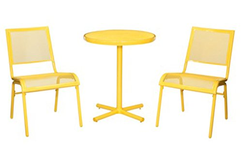 Yellow Mesh 3PC Outdoor Patio Bistro Set (Lasalle Outdoor Furniture)