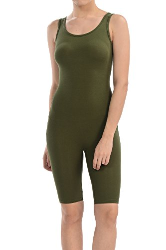 Lycra Spandex Shorts - 7Wins Women Catsuit Cotton Lycra Tank Short Knee Yoga Bodysuit Jumpsuit (Medium, Olive)