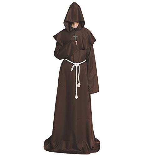 Halloween Costume Medieval Priest Robes Monk Robe-Hooded