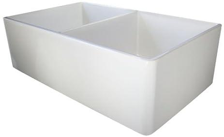 alfi brand ab538 32inch smooth double bowl fireclay farmhouse kitchen sink white