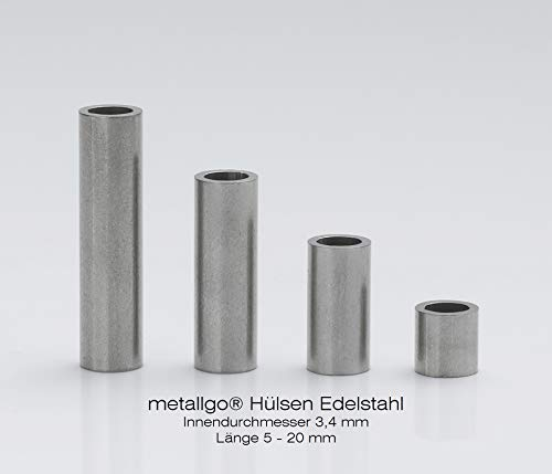 Edelstahl Distanzhülsen, Abstandshülsen – ohne Innengewinde, M3 Schrauben beweglich durchsteckbar – 5 x 3.4 x 0.8 mm (Außen x Innen x Wandstärke) – 10 Stück, Länge 5 mm