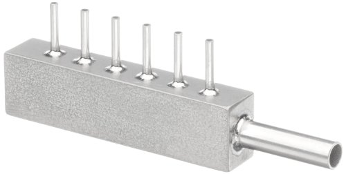 Stainless Steel Hypodermic Tubing Manifold, Inlet- 6 Gauge, 6 Outlets- 13 Gauge (Pack of 5)