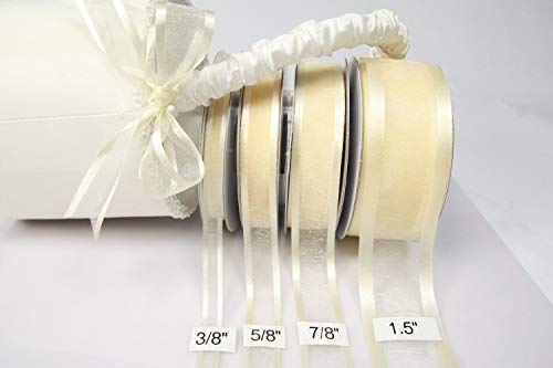 Ivory Organza Ribbon With Satin Edge-25 Yards X 3/8 Inches - Organza Ivory Ribbon