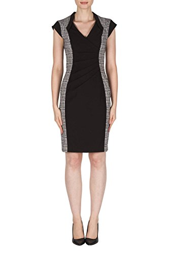 Joseph Ribkoff Black & White Cap Sleeve Sheath Dress Style 181187 Size 18