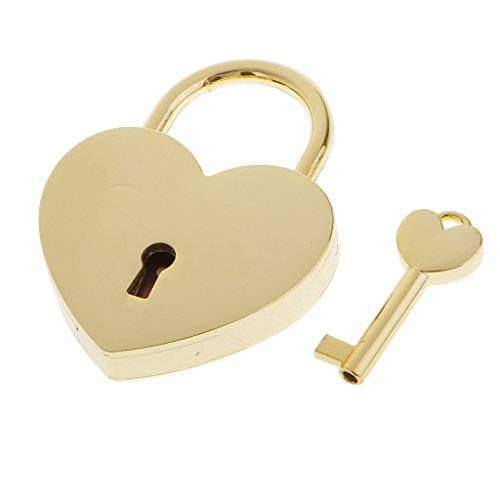 MagiDeal Retro Heart Shaped Padlock with Key Suitcase Lock Valentine