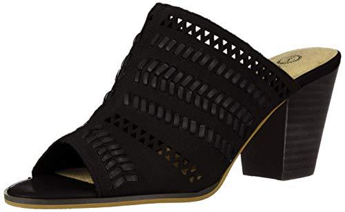 Bella Vita Women's Koraline Slide Sandal on Block Heel Shoe, Black Suede Leather, 5.5 M US