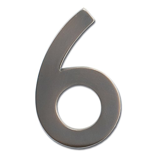 Architectural Mailboxes 3585DC-6 Brass 5-Inch Floating House Number 6, Dark Aged Copper (Dark Numbers)