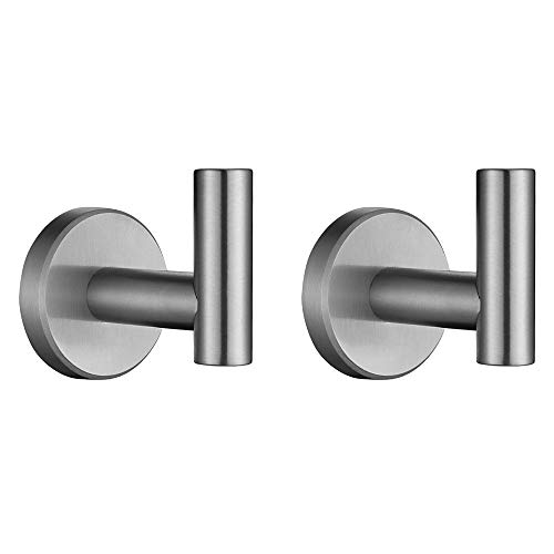 JQK Bath Towel Hook, SUS 304 Stainless Steel Coat/Robe Clothes Hook for Bathroom Kitchen Garage Wall Mounted(Pack of 2), Brushed Finish