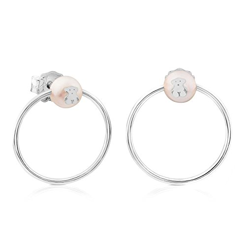TOUS Sterling Silver Icon Circle Earrings with Fresh Water Cultured Pearl