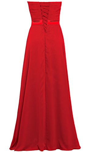 s Long Women Party Bridesmaid Strapless Gowns Red Dresses Chiffon ANTS A1nw77x