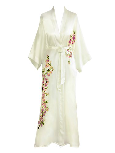 Old Shanghai Womens Silk Kimono Long Robe - Handpainted (Peacock White),One Size.