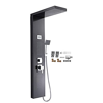 Stainless Steel Shower Panel Tower System,LCD Display Brushed Nickel Rainfall Waterfall Shower Head Faucet Rain Thermostatic Spout Shower Nozzle Column Shower Tower
