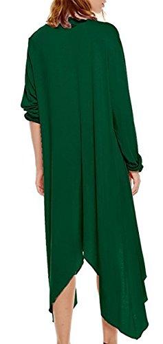 Lunghe Slim Collare Pullover Lungo Top Cascata Maglioni Jumper Cardigan Moda Donna V Irregolare Cadere Maglione pullover Inverno Maniche Solidi Basic Cardigan Verde Colori 0PpzWpq