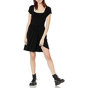 Amazon Brand - Wild Meadow Women's Short Sleeve Soft Square Neck Mini Knit Dress