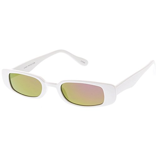sunglassLA - Extreme Thin Small Rectangle Sunglasses Mirrored Lens 49mm (White / Magenta - Sunglasses Rectangle Thin