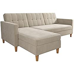 DHP Hartford Storage Sectional Futon with Interchangeable Chaise, Space-saving Design with Multi-position Back, Wooden Legs, Tan Chenille