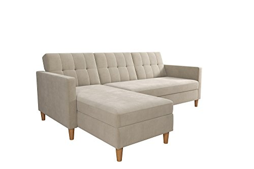 DHP Hartford Storage Sectional Futon with Interchangeable Chaise and Storage Ottoman, Tan Chenille