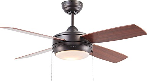 Craftmade Ceiling Fan with LED Light LAV44ESP4LK-LED, Laval Espresso 44 Inch Bedroom Fan