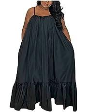 Boho jurk damesmode casual ruches solide sling sexy slanke losse lange jurk strandjurk