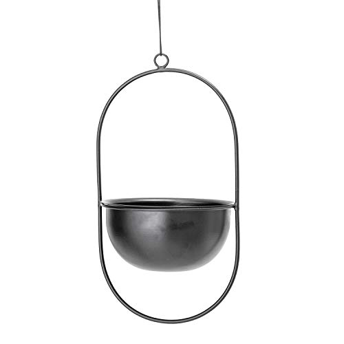 - Bloomingville Enameled Metal Oval Frame Hanging Planter, Black
