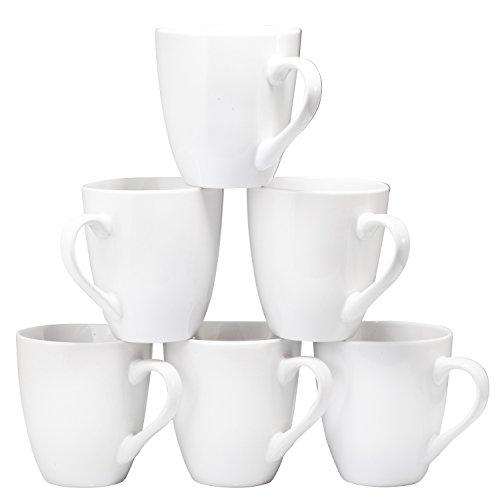 Coffee Mug Set of 6 Large-sized 16 Ounce Ceramic Mugs White