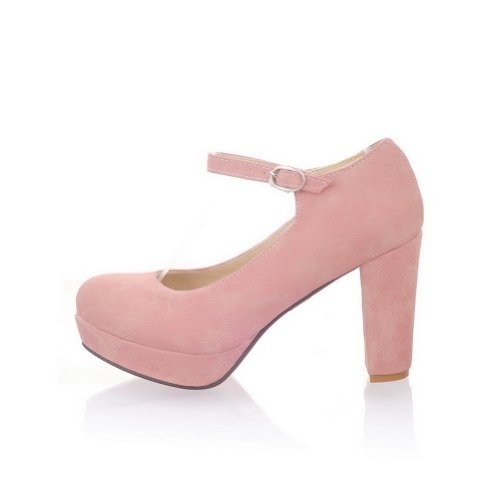 Solid Closed Toe AmoonyFashion Soft Pumps Material Round Heel Womens PU Pink High zAAqxR5