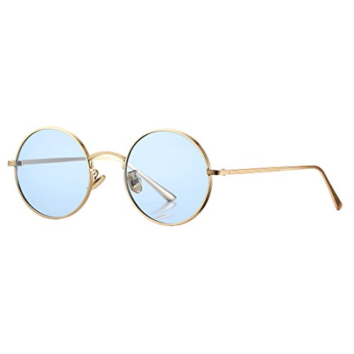 COASION Vintage Round Metal Sunglasses John Lennon Style Small Unisex Sun Glasses (Gold Frame/Blue -