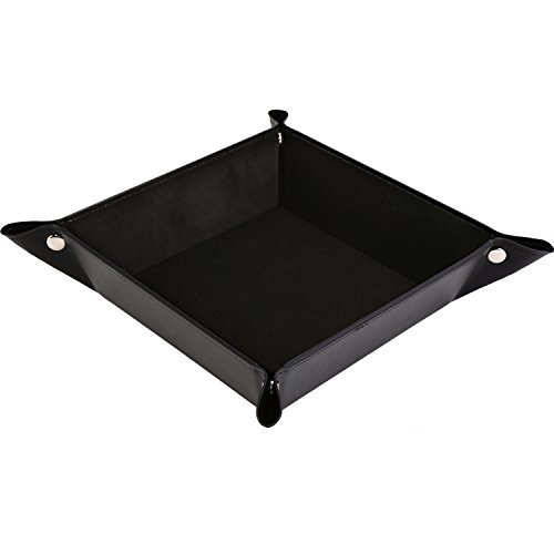 HappyDavid Jewelry Leather Tray Bedside Storage Tray Box for Key Phone Coin Wallet Watches ect (black/velvet inner)