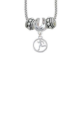 (Runner Silhouette in 1/2'' Disc Horseshoe 3 Bead Necklace)