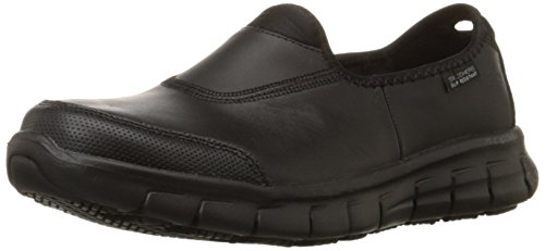 Skechers for Work Women's Sure Track Slip Resistant Shoe, Black, 7.5 M US (Best Nursing Shoes Skechers)