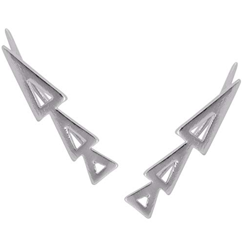 Humble Chic Triangle Ear Climbers - Arrow Shaped Cutout Ear Cuff Crawler Stud Earrings, Silver-Tone Triangle