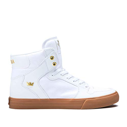 Supra Footwear - Vaider High Top Skate Shoes, White/Gold-Light Gum, 9 M US Women/7.5 M US Men (Footwear Dark Gum)