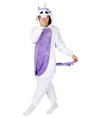 Purple Leisure Suit Adult Costumes (Cosplay Animal Pajamas Sleepwear Adult Unisex Onesies Halloween Costume Unicorn (S (Height 151-160 cm), Purple Unicorn))