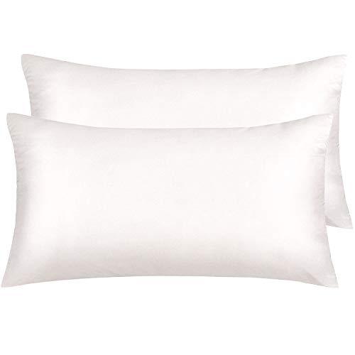NTBAY Silky Satin King Pillowcases Set of 2, Super Soft and Luxury, Hidden Zipper Design, Cream, King Size