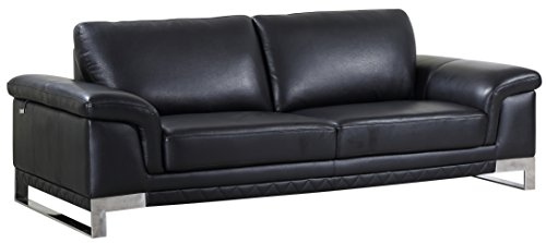 Blackjack Furniture 411-BLACK-S Sofa Italian Leather, Livingroom, Black ()