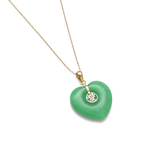 Belacqua 14k Yellow Gold Natural Jade Heart Charm Pendant Necklace, 18