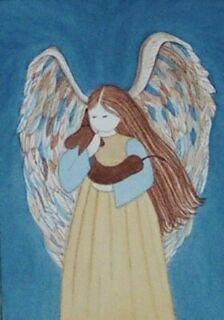 Brown Dachshund (doxie) and angel / Lynch folk art print