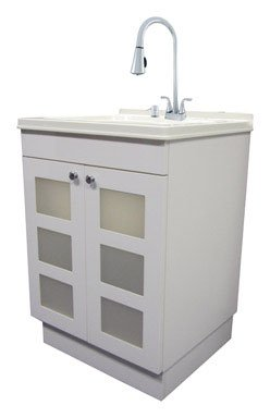 LDR 7712CP-SD Laundry Utility Cabinet Sink Vanity Chrome Faucet with Pull Out Spray and Soap Dispenser by Exquisite
