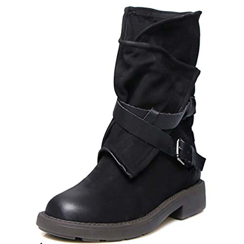 DETAWIN Women Mid Calf Boots Waterproof Retro PU Round Toe Buckle Strap Low Block Heel Motocycle Boot]()