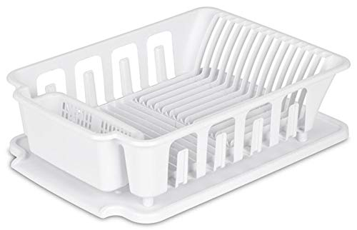 (Heavy Duty Sturdy Hard Plastic Sink Set With Dish Rack Large Attached Drainboard Cup Holders for Home Kitchen Counter Top Organizer - White (18 3/4