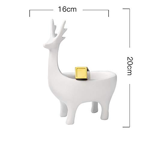 Creative Cartoon 3D Deer Shape Home Car Keys Holder Rack Resin Clip Holder Office Crafts Decorative Desktop Organizer Desk Set,White