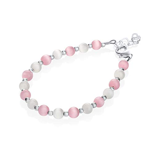 Crystal Dream Elegant White and Pink Swarovski Simulated Pearl Beads with Sterling Silver Mini Beads Stylish Infant Girl Bracelet (BCTP_M)