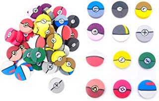 60 1-Inch Poke Ball Erasers for Kids - Pokemon Ball Inspired Designs Materials Won't Smudge or Tear Paper - Great for Homework Rewards, Party Favors, and Art Supplies -