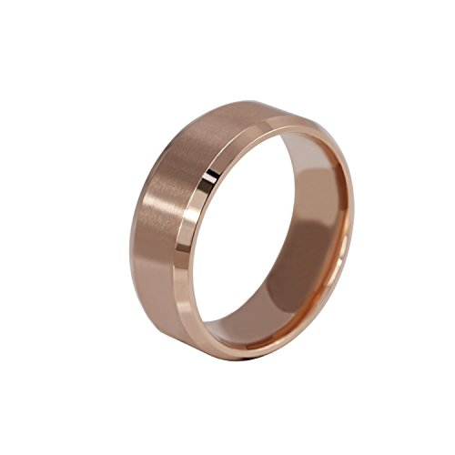 VNOX (Free Engraving Personalized Custom 8MM Stainless Steel Plain Band Ring for Men Women,Size 8